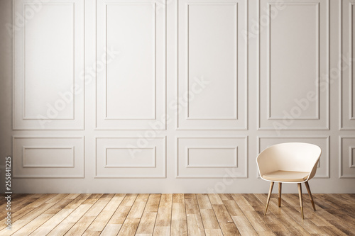 Leinwanddruck Bild Empty classic interior with chair