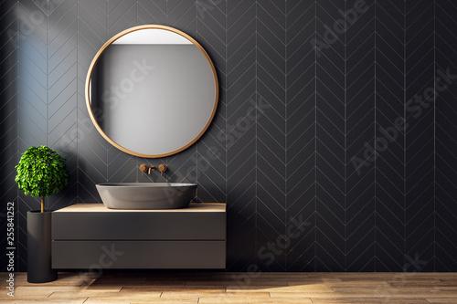 Leinwanddruck Bild Modern black bathroom interior