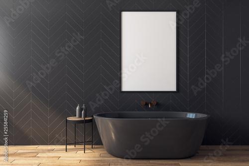 Leinwanddruck Bild Modern black bathroom with poster