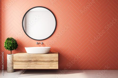 Leinwanddruck Bild Modern orange bathroom interior