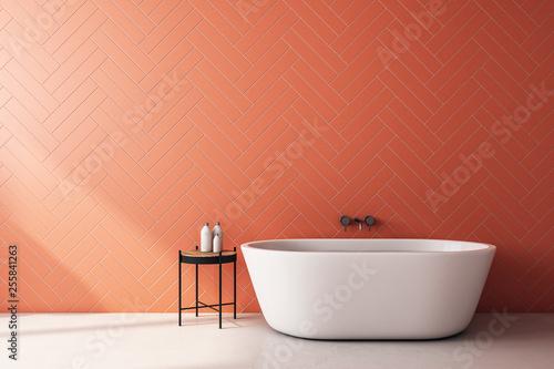 Leinwanddruck Bild Modern orange bathroom