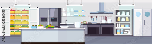 modern commercial restaurant kitchen interior with healthy food fruits and vegetables cooking and culinary concept empty no people horizontal banner flat - 255860455