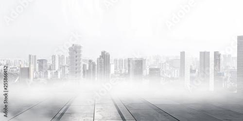 Foggy modern city . Mixed media - 255866452