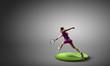 Leinwanddruck Bild - Big tennis player. Mixed media