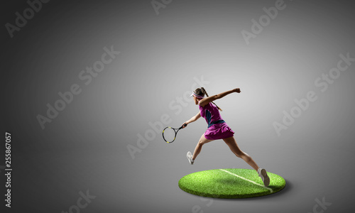 Leinwanddruck Bild Big tennis player. Mixed media
