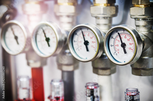 pressure gauge, fittings and valve, pipes and adapters. Plumbing fixtures and piping parts © OlegDoroshin
