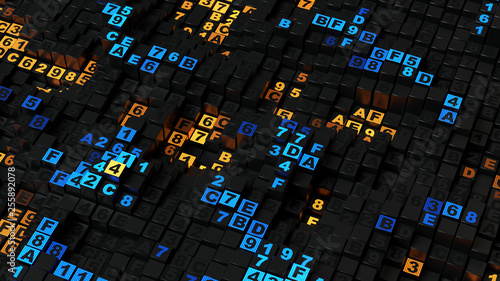 Yellow and blue HEX programming code 3D rendering