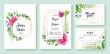 Wedding Invitation, save the date, thank you, rsvp card Design template. Vector. Pink dahlia flowers, fern leaf, silverdolar leaves, Ivy plants.