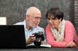 senior couple watching vacation pictures on camera