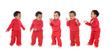 Five happy babies dancing and claping