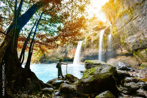 woman in Haew Suwat Waterfall at Khao Yai National Park - 255912687