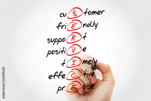 SERVICE - Customer, Friendly, Support, Positive, Timely, Effective, Precise acronym with marker, business concept background
