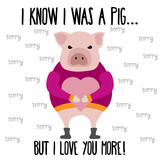 Funny Valentine's day card with pig