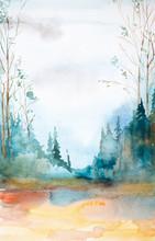 "Постер, картина, фотообои ""Watercolor illustration of a beautiful summer forest landscape"""