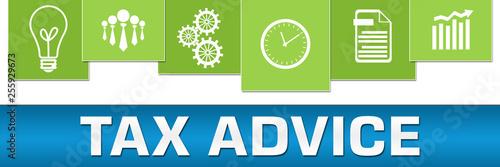 Tax Advice Business Symbols Blue Green On Top Horizontal