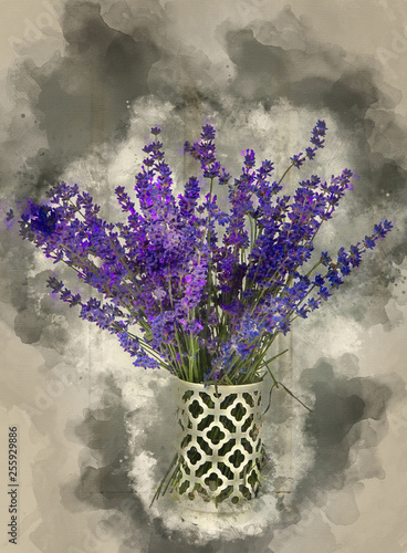 Watercolour painting of Beautiful fragrant lavender bunch in rustic home styled setting with copy space - 255929886