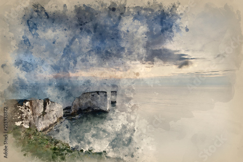 Watercolour painting of Beautiful cliff formation landscape during stunning sunrise