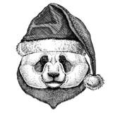 Panda, bamboo bear wearing christmas Santa Claus hat. Hand drawn image for tattoo, emblem, badge, logo, patch