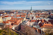 Aerial view of Poznan Old Town and Town Hall, Poland.