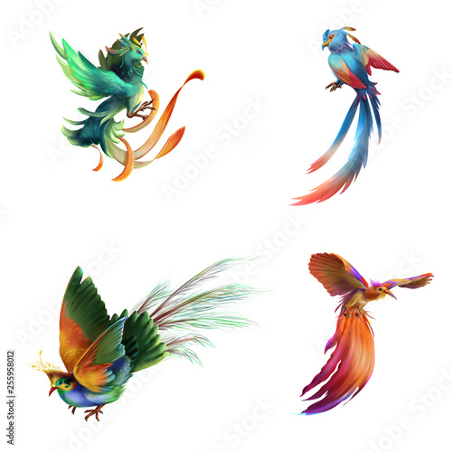 Fantasy and Realistic Bird. Animal Character Design. Concept Art. Realistic Illustration. Video Game Digital CG Artwork. - 255958012