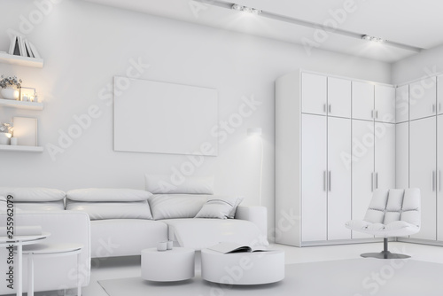 Modern white bright interior with sofa,chairs and lamp © DNY3D