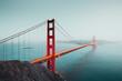 Leinwanddruck Bild - Golden Gate Bridge at twilight, San Francisco, California, USA