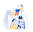 Group of tiny office workers or employees assembling together giant jigsaw puzzle pieces. Concept of teamwork, business cooperation, collective project work. Modern flat colorful vector illustration.