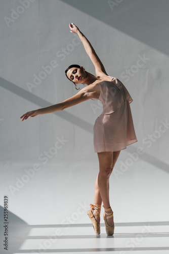 Leinwandbild Motiv graceful ballerina in pink dress dancing in sunlight