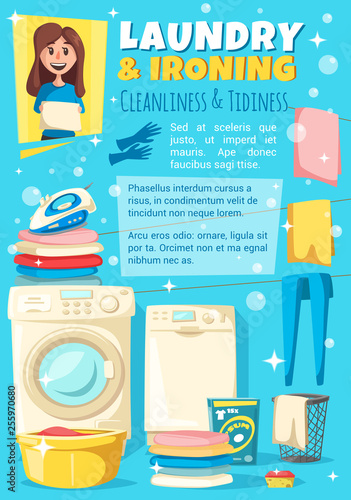 Ironing, laundry and washing. Housewife chores © Vector Tradition