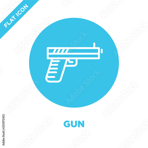 gun icon vector from military collection. Thin line gun outline icon vector  illustration. Linear symbol for use on web and mobile apps, logo, print media. © MacroOne