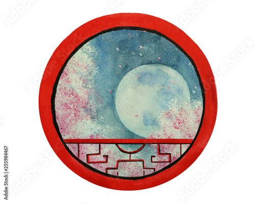 watercolor traditional landscape full moon and cherry blossom or sakura flower looking view through round frame chinese window.isolated on white background. © atichat
