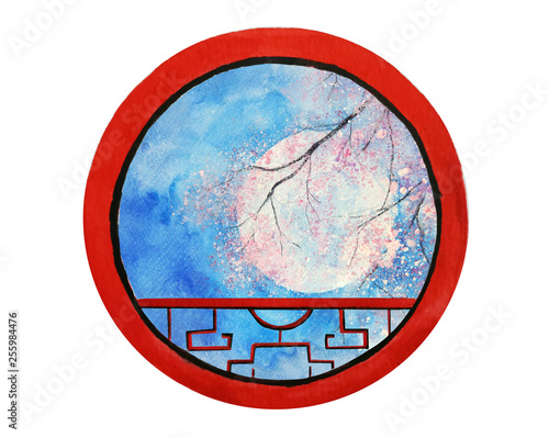 watercolor landscape full moon and cherry blossom or sakura flower looking view through round frame chinese window.isolated on white background. © atichat