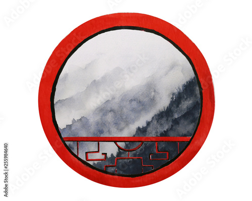 watercolor landscape mountain fog looking view through round frame asia chinese window.isolated on white background. © atichat