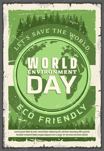 Ecology world environment day, retro vector poster