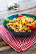 fusilli roast chicken and Italian cheese with basil and parmesan sauce - 255990277