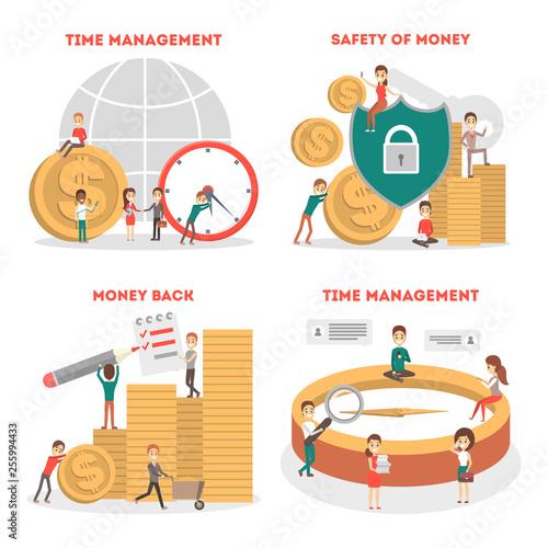 Time management concept set. Idea of schedule