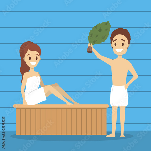 Woman in sauna. Wooden bathhouse. Spa and relax