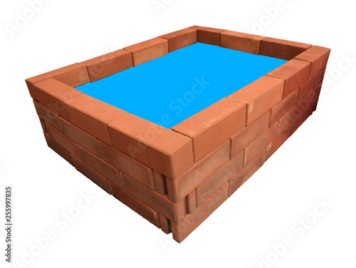 Top Rectangle brick pond blue idea water on white background. - 255997835