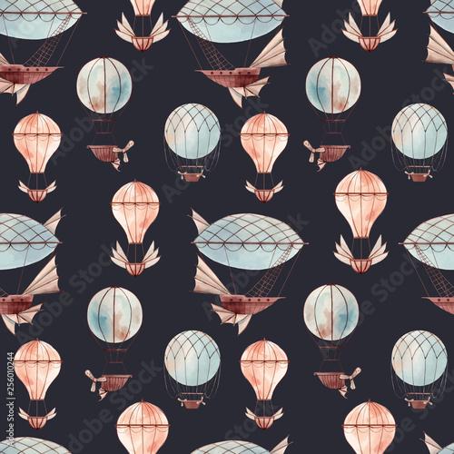 obraz PCV Watercolor fairy aircrafts vector pattern