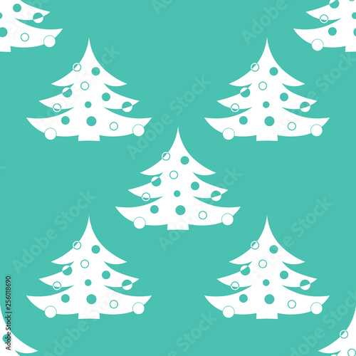 fototapeta na ścianę Christmas tree with toys seamless pattern