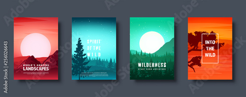 Mountains and forest. Wild nature landscape. Travel and adventure.Panorama. Into the woods. Horizon line.Trees,fog. Vector illustration. - 256026643
