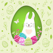 Paper Easter card with rabbit