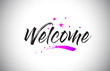 Welcome Handwritten Word Font with Vibrant Violet Purple Stars and Confetti Vector.
