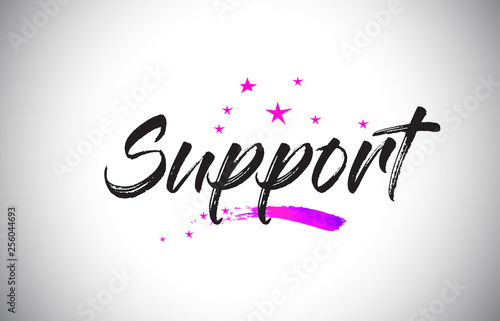 Support Handwritten Word Font with Vibrant Violet Purple Stars and Confetti Vector.