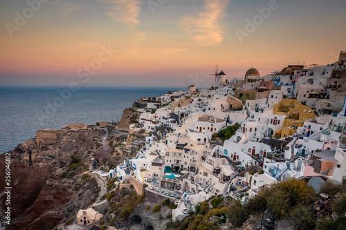 Santorini in Greece in summer hot sunset weather - 256046812