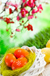 Easter eggs in the nest and wooden table on green nature background