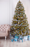 conceptual picture of a christmas tree with a bunch of presents