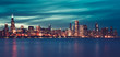 Panoramic view of Chicago by night, special photographic