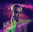Leinwanddruck Bild - Pretty blond lady covered with colorful powder