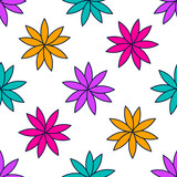 Seamless pattern with colorful flowers. Floral ornament background. Vector illustration.   - 256066608